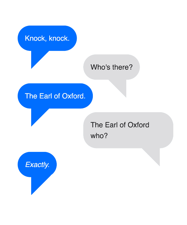 Earl of Oxford Knock Knock Joke Shakespeare Geek T-Shirt