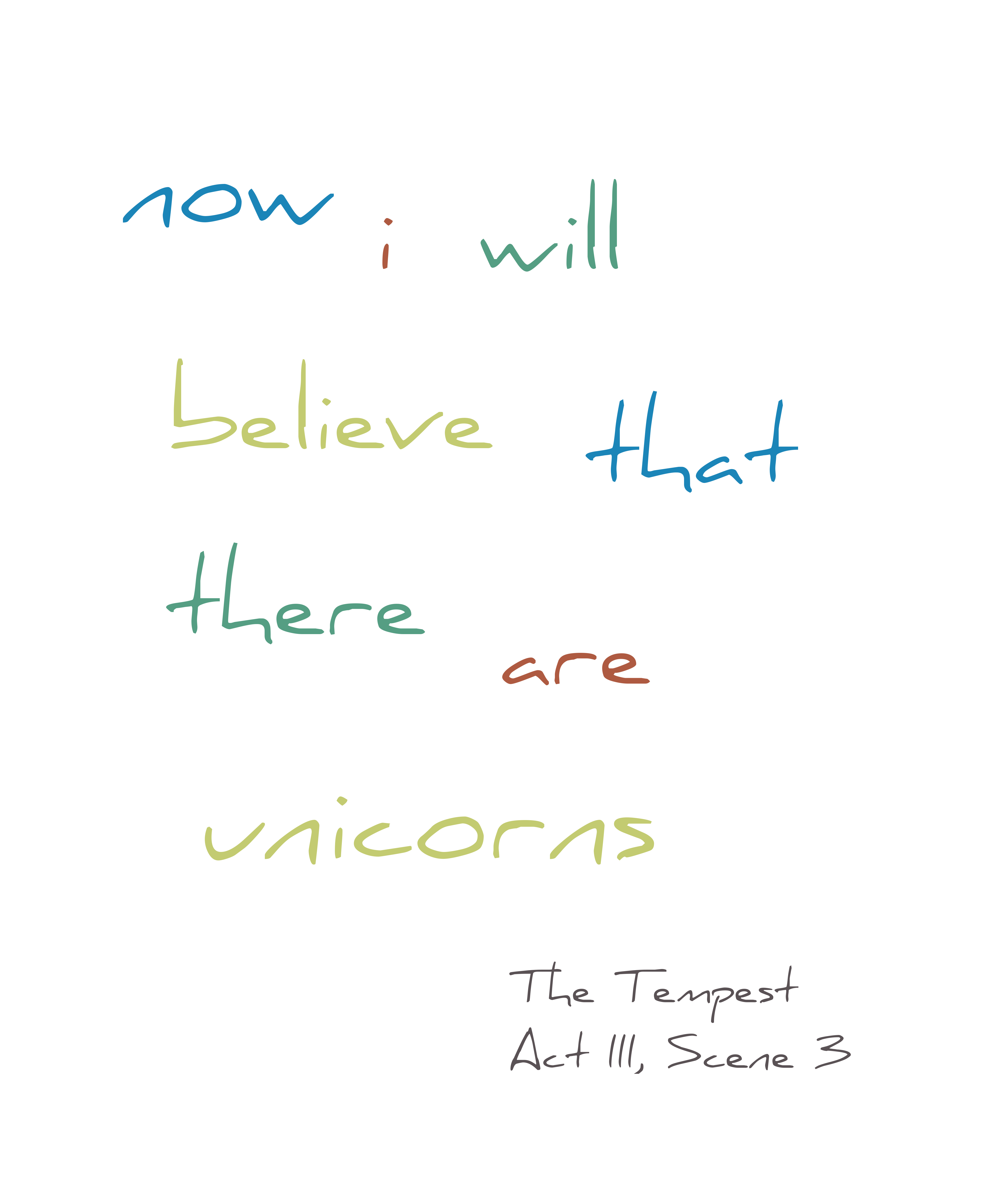 Now I Will Believe That There Are Unicorns Shakespeare Geek T-Shirt